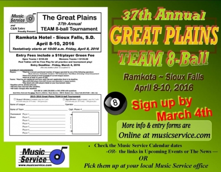2016 Great Plains Team 8-Ball Deadline
