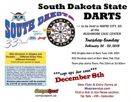 SD State Dart Tournament, Rapid City