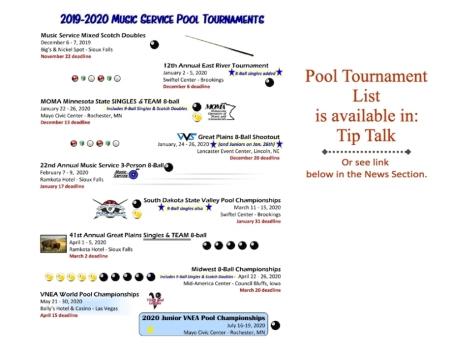 2019-2020 Pool Tournament List