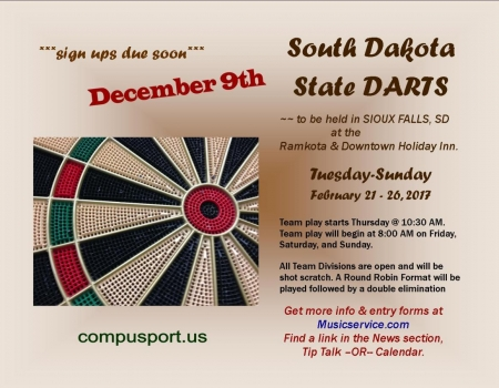 SD STATE DARTS (Singles, Doubles & Team)