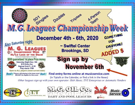 2020 MG Leagues Dart Championship Weekend