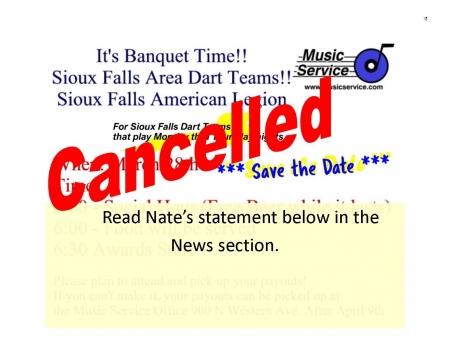 2020 Sioux Falls DART Banquet Cancelled