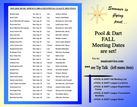 Fall League Meeting Dates for Pool & Darts