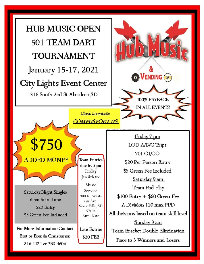 2021.1-15 Hub Music 501 Dart Tourney Flyer ms 710x915
